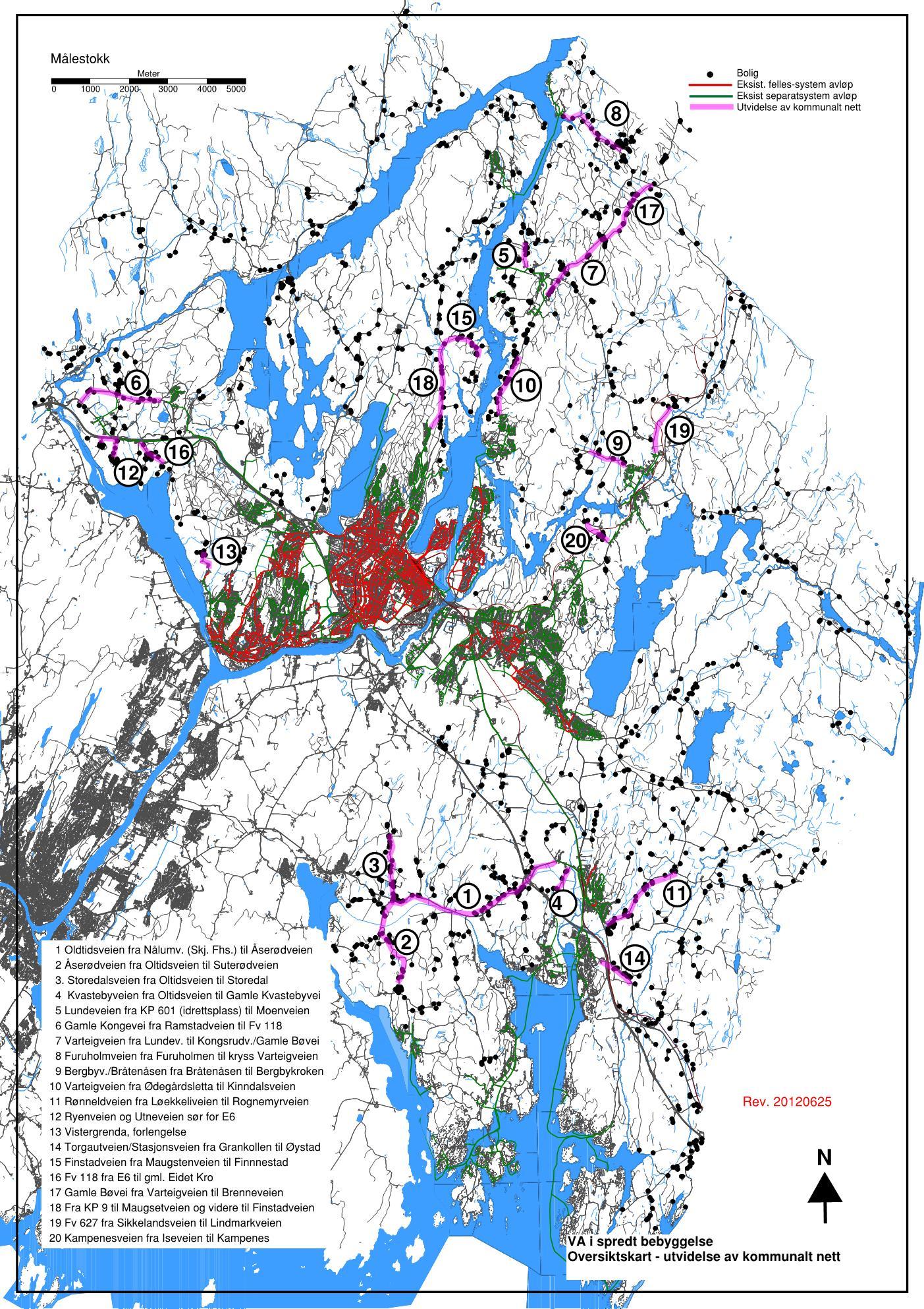 kart over vann og avløp Sarpsbkommune   Vann og avløp kart over vann og avløp